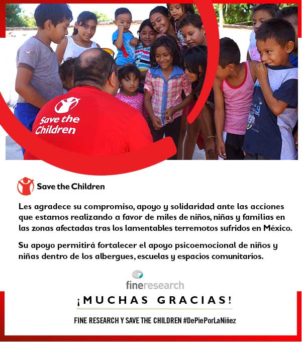 #Standing for Childhood. FINE launches initiative to support Save The Children efforts for emotional relief of children affected by the Mexican Earthquake.